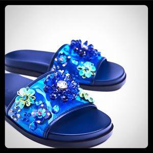 Zara beaded flowers blue slides